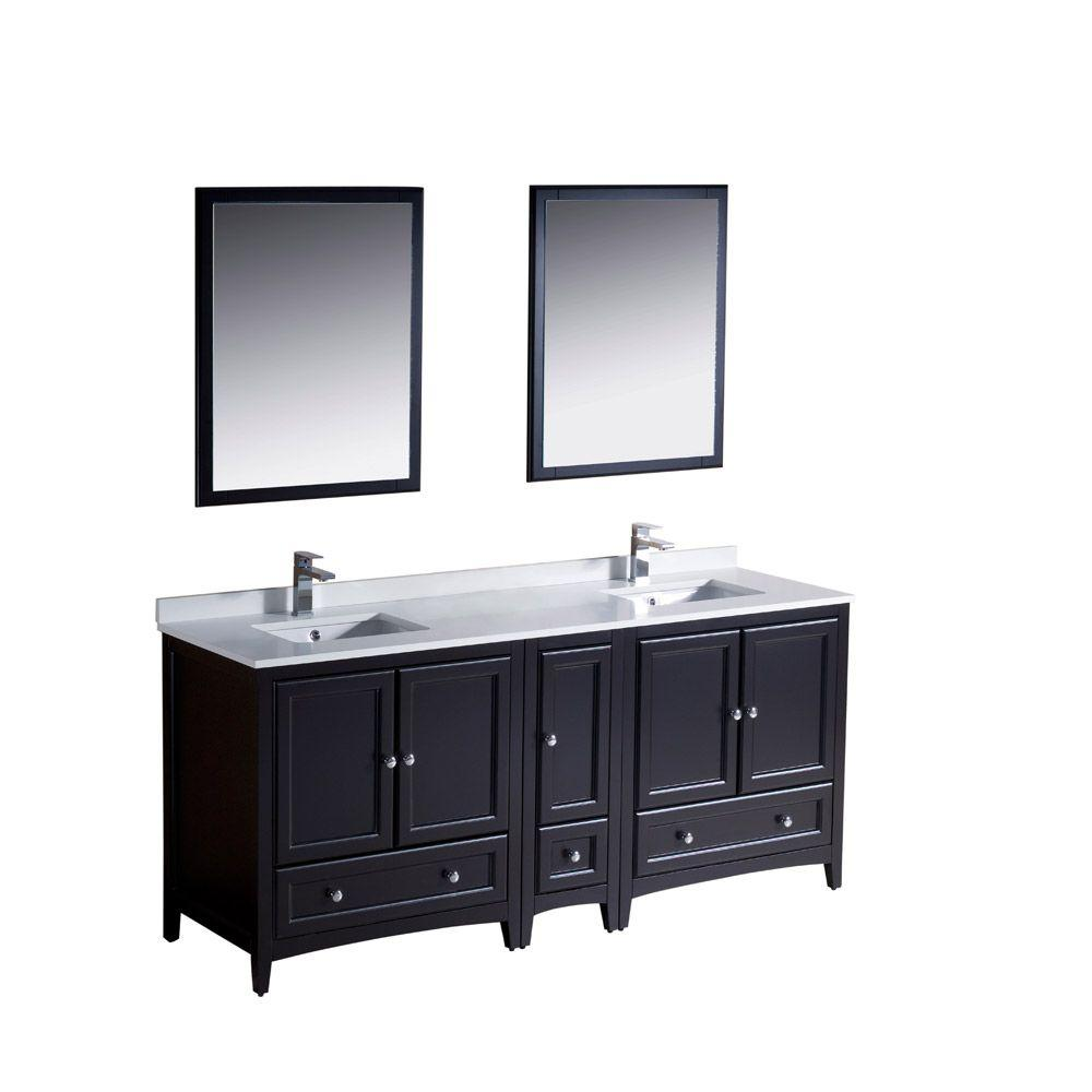 Fresca Oxford 72 in. Double Vanity in Espresso with Ceramic Vanity ...