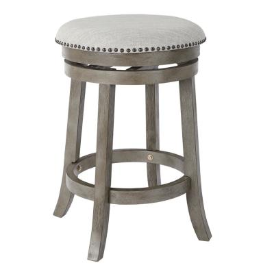 Backless Antique Grey Swivel Stool (2-Pack)