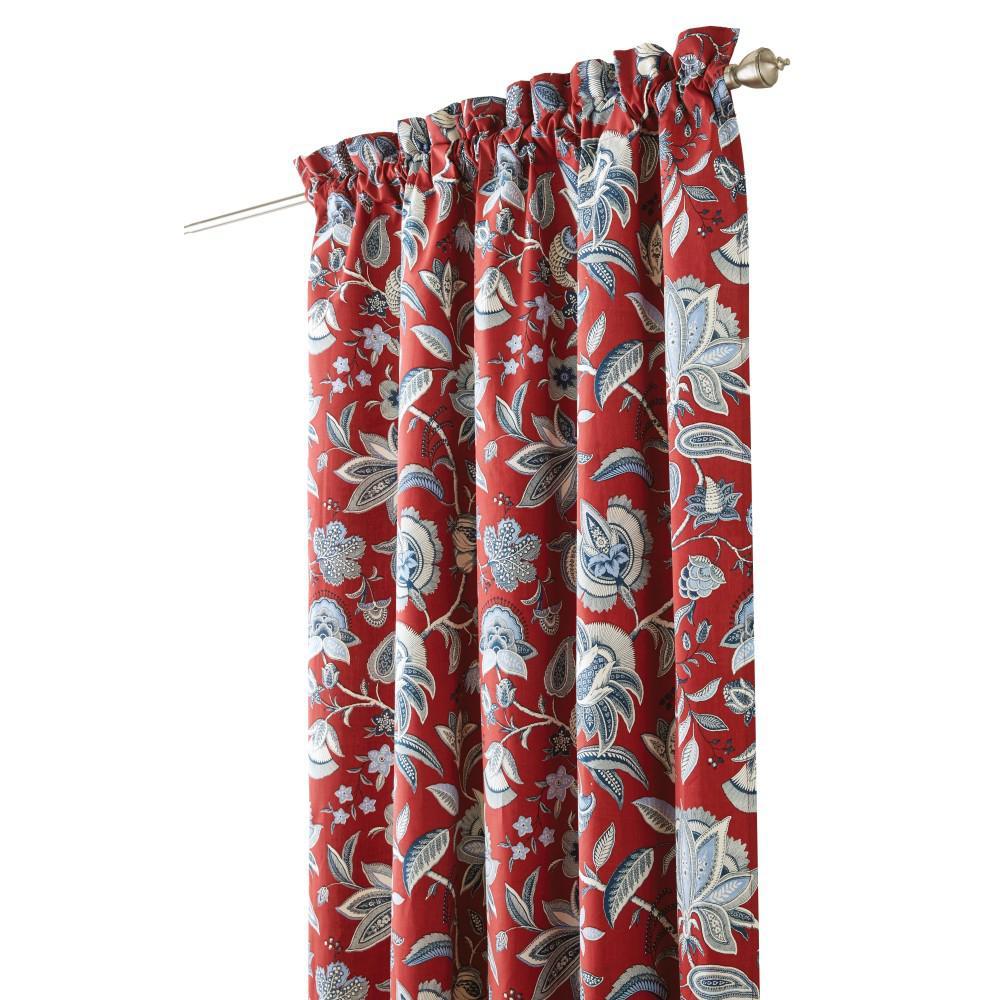 Semi-Opaque Heritage Garden 84 in. L Cotton Drapery Panel in Patriotic