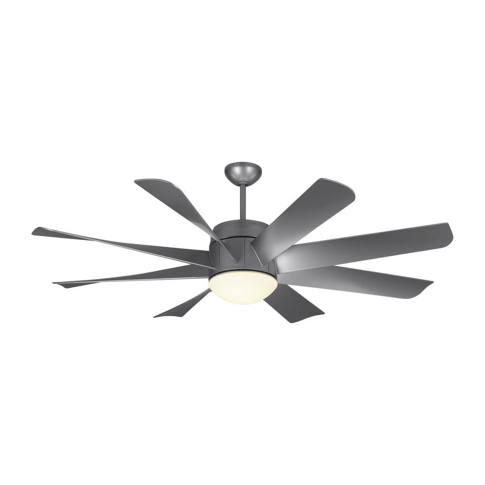 4 up hugger ceiling fans lighting the home depot led indoor painted brushed steel ceiling fan aloadofball Images