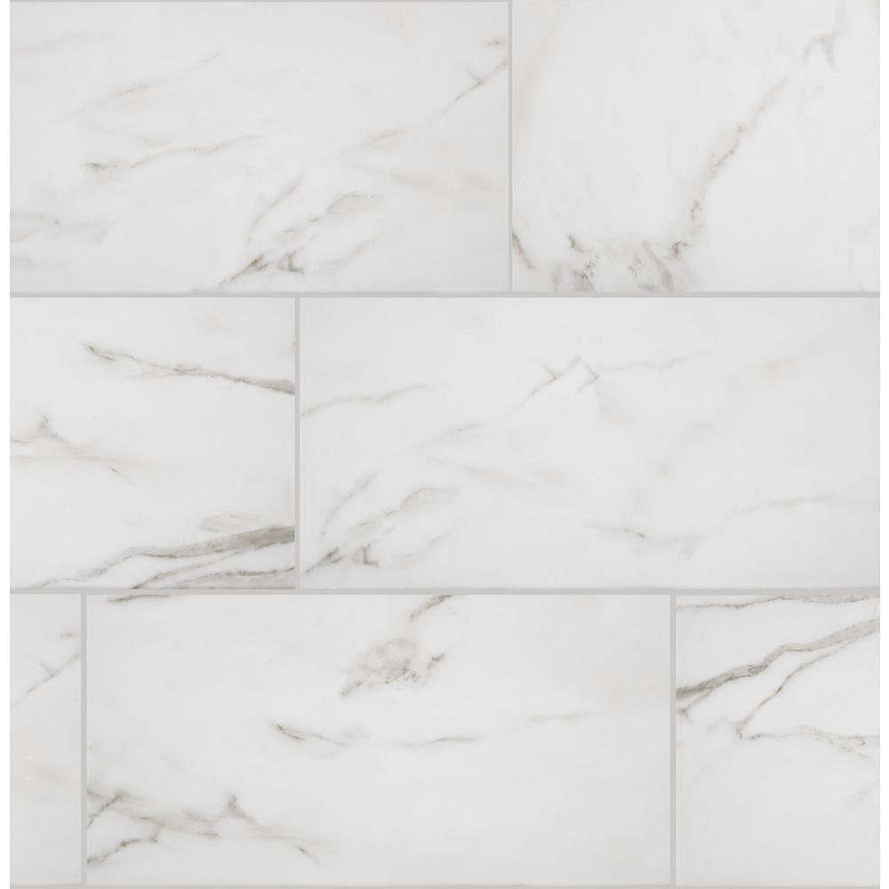 Florida Tile Home Collection Michelangelo Calacatta Rectified 12 in. x 24 in. Porcelain Floor and Wall Tile (425.6 sq. ft. / pallet)