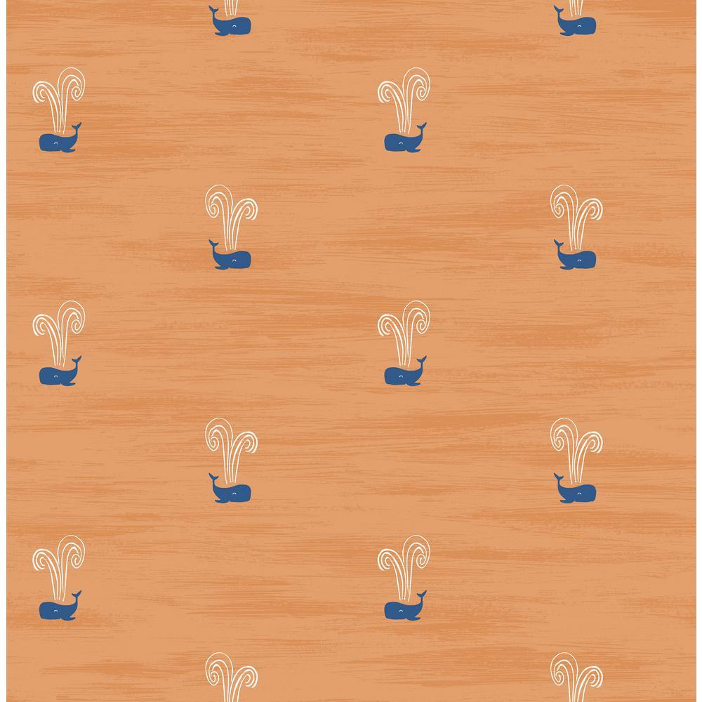Seabrook Designs Kids Orange and Navy Tiny Whales Wallpaper DA60312