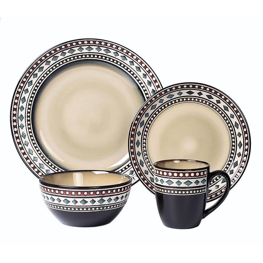 16-Piece Casual Neutral Stoneware Dinnerware Set (Service for 4)