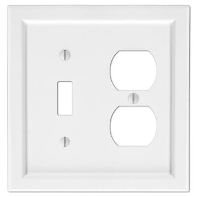 Woodmore 2 Gang 1-Toggle and 1-Duplex Wood Wall Plate - White
