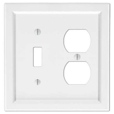 Woodmore Wood 1-Toggle and 1-Duplex Wall Plate, White