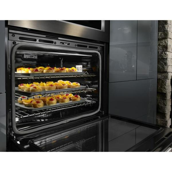 Kitchenaid 30 In Double Electric Wall Oven Self Cleaning With Convection In Black Stainless Kode500ebs The Home Depot