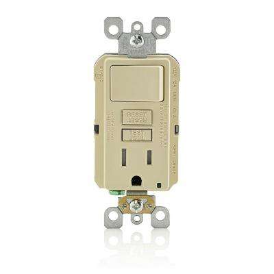 15 Amp SmartlockPro Combination GFCI Outlet and Switch, Ivory