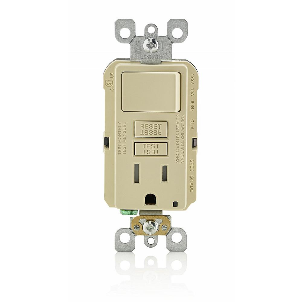 Leviton 15 Amp 125 Volt Combo Self Test Tamper Resistant Gfci Outlet Wiring With Together Lights And Outlets On This Review Is From15 Smartlockpro Combination Switch Ivory