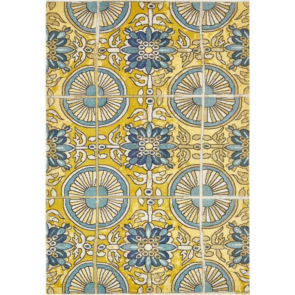 Estrella Salma Gold/Blue 7 ft. x 10 ft. Floral Area Rug