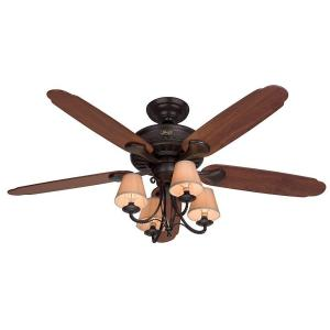 Hunter Cortland 54 inch Indoor New Bronze Ceiling Fan with Light by Hunter
