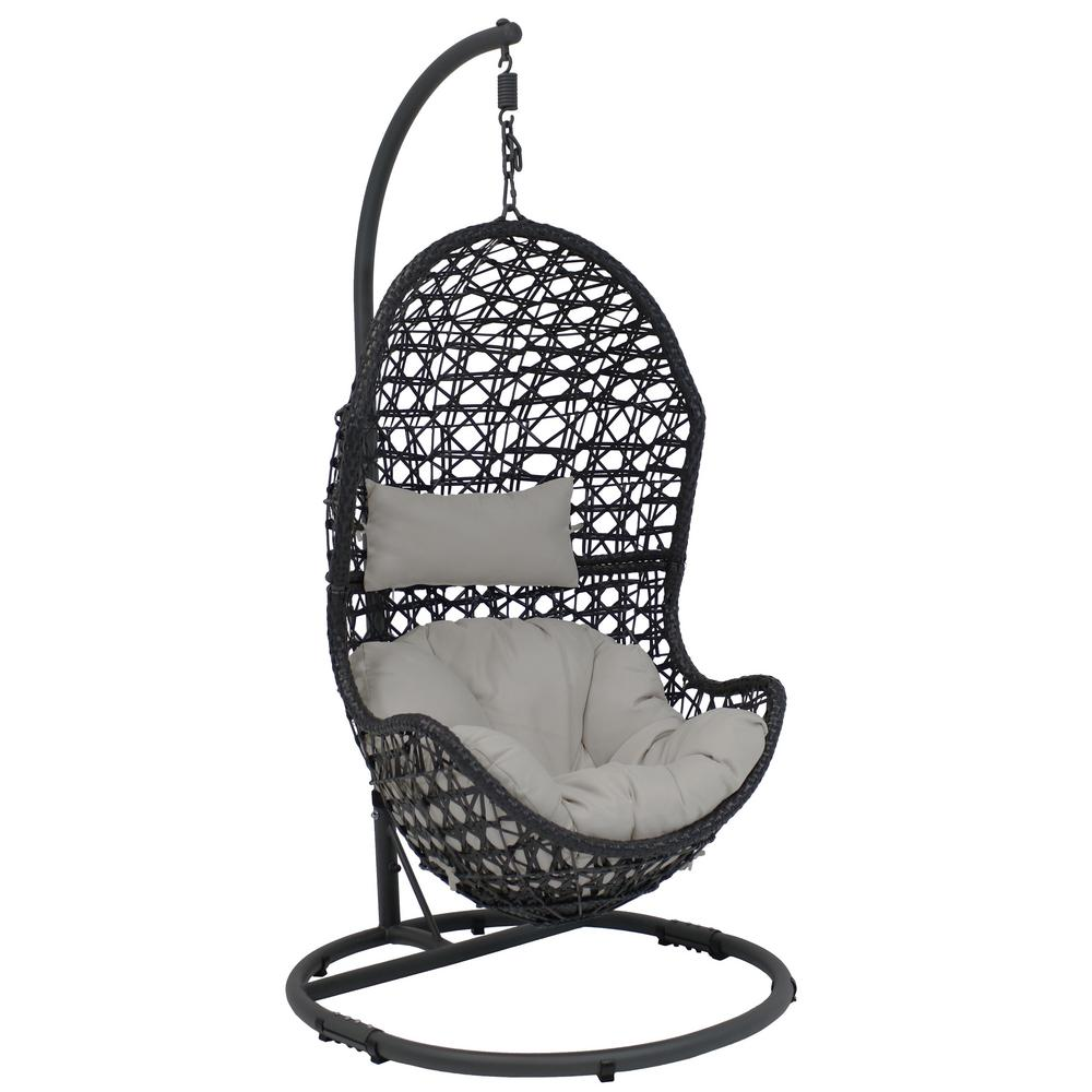 Amazing Sunnydaze Decor Cordelia Wicker Indoor Outdoor Hanging Egg Patio Lounge Chair With Stand And Gray Cushions Beutiful Home Inspiration Papxelindsey Bellcom