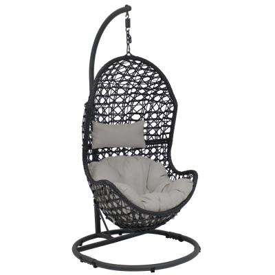 Cordelia Wicker Indoor/Outdoor Hanging Egg Patio Lounge Chair with Stand and Gray Cushions