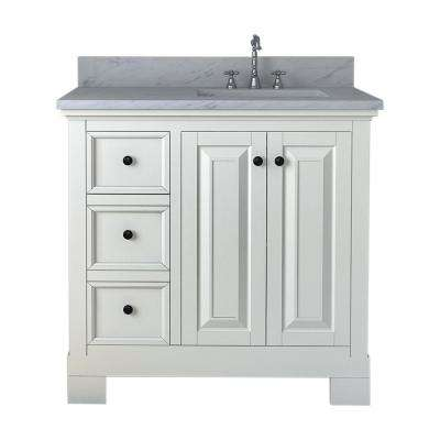Eastwood 36 in. W x 34 in. H Bath Vanity in White with Marble Vanity Top in White with White Basin