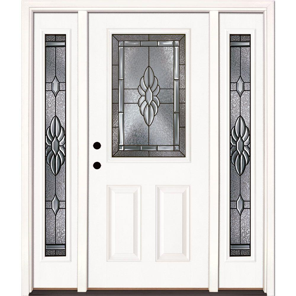 Feather River Doors 63.5 in. x 81.625 in. Sapphire Patina 1/2 Lite Unfinished Smooth Right-Hand Fiberglass Prehung Front Door with Sidelites