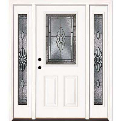 67.5 in. x 81.625 in. Sapphire Patina 1/2 Lite Unfinished Smooth Right-Hand Fiberglass Prehung Front Door with Sidelites