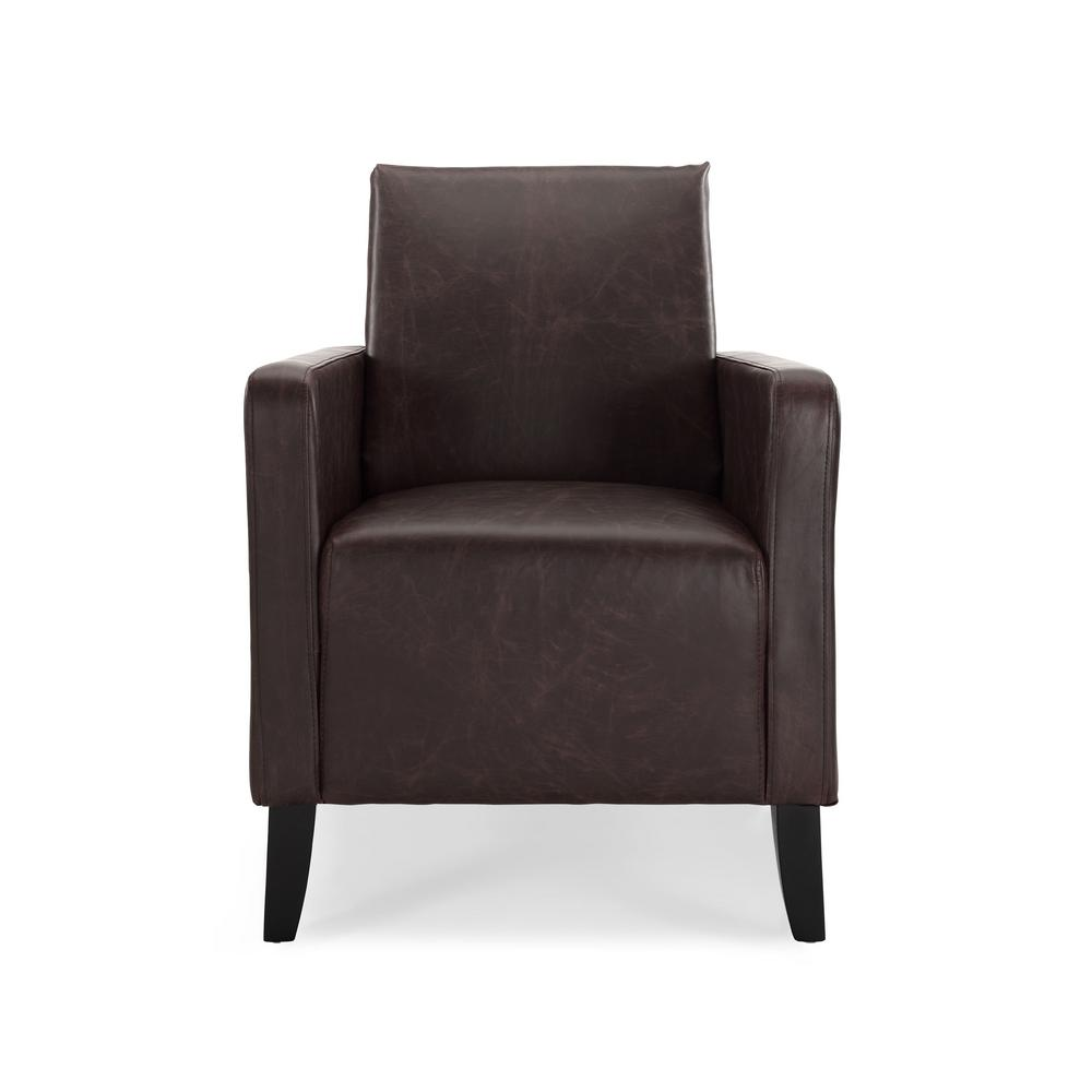 Slice vintage brown faux leather accent chair