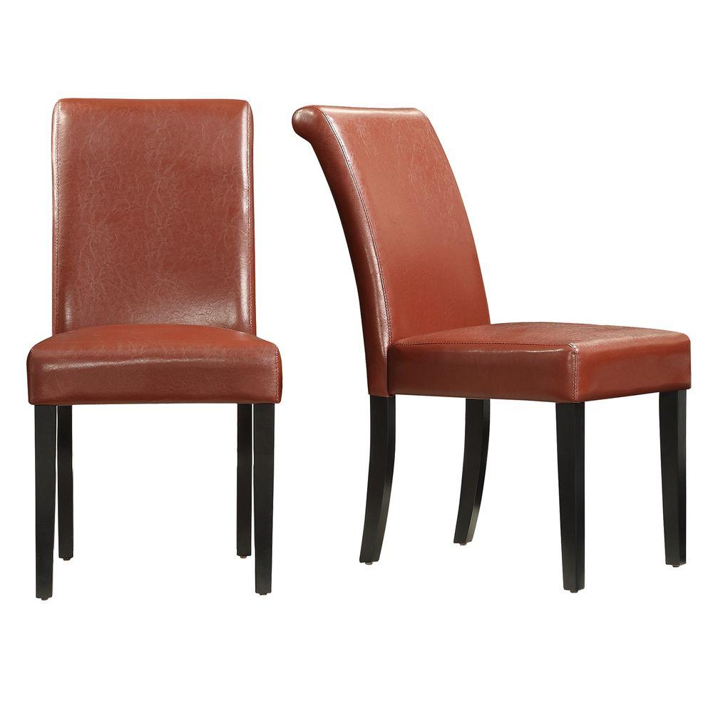 Homesullivan Fairfield Red Faux Leather Dining Chair Set Of 2