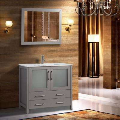 Brescia 36 in. W x 18 in. D x 36 in. H Bathroom Vanity in Grey with Single Basin Vanity Top in White Ceramic and Mirror