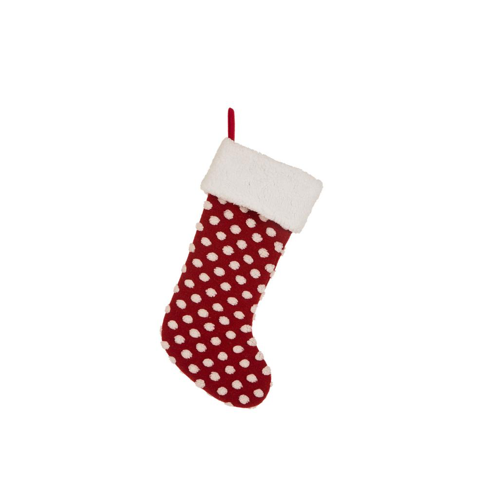 21 in. H Fabric Pompom Stocking