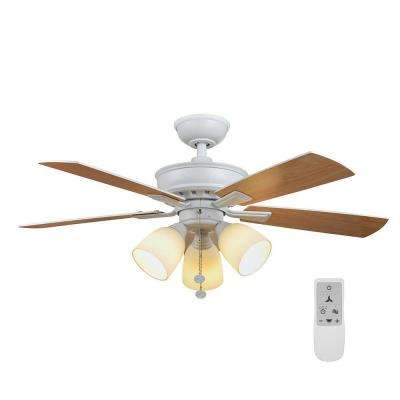 Vaurgas 44 in. Matte White LED Smart Ceiling Fan with Light Kit and Remote Control Works with Google Assistant and Alexa