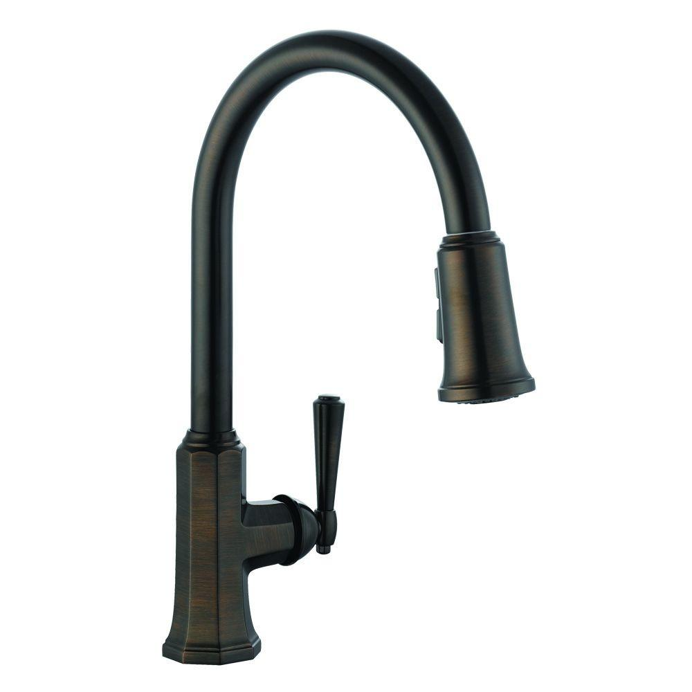 Design House Barcelona Single-Handle Pull-Out Sprayer Kitchen Faucet in Brushed Bronze