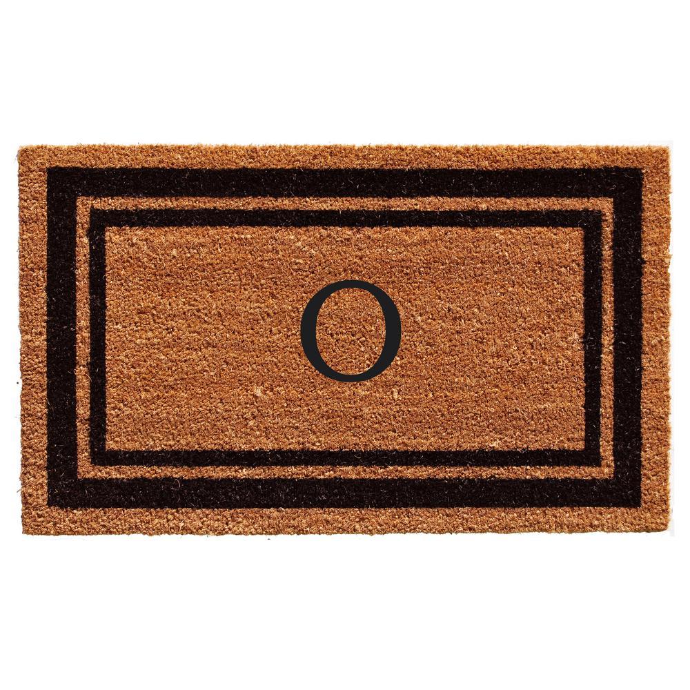Black Border Door Mat 24 in. x 36 in. Monogram O Door Mat
