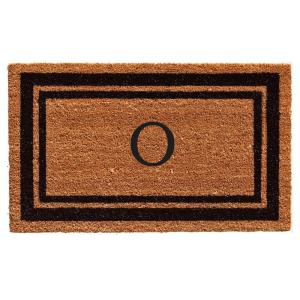 Black Border Door Mat 24 in. x 36 in. Monogram O Door Mat