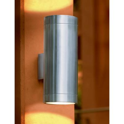 Ascoli 5 in. W x 12.79 in. H 2-Light Stainless Steel Outdoor Wall Lantern Sconce with Clear Glass