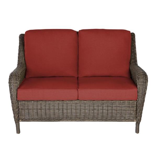 Cambridge Gray Wicker Outdoor Patio Loveseat with Sunbrella Henna Red Cushions