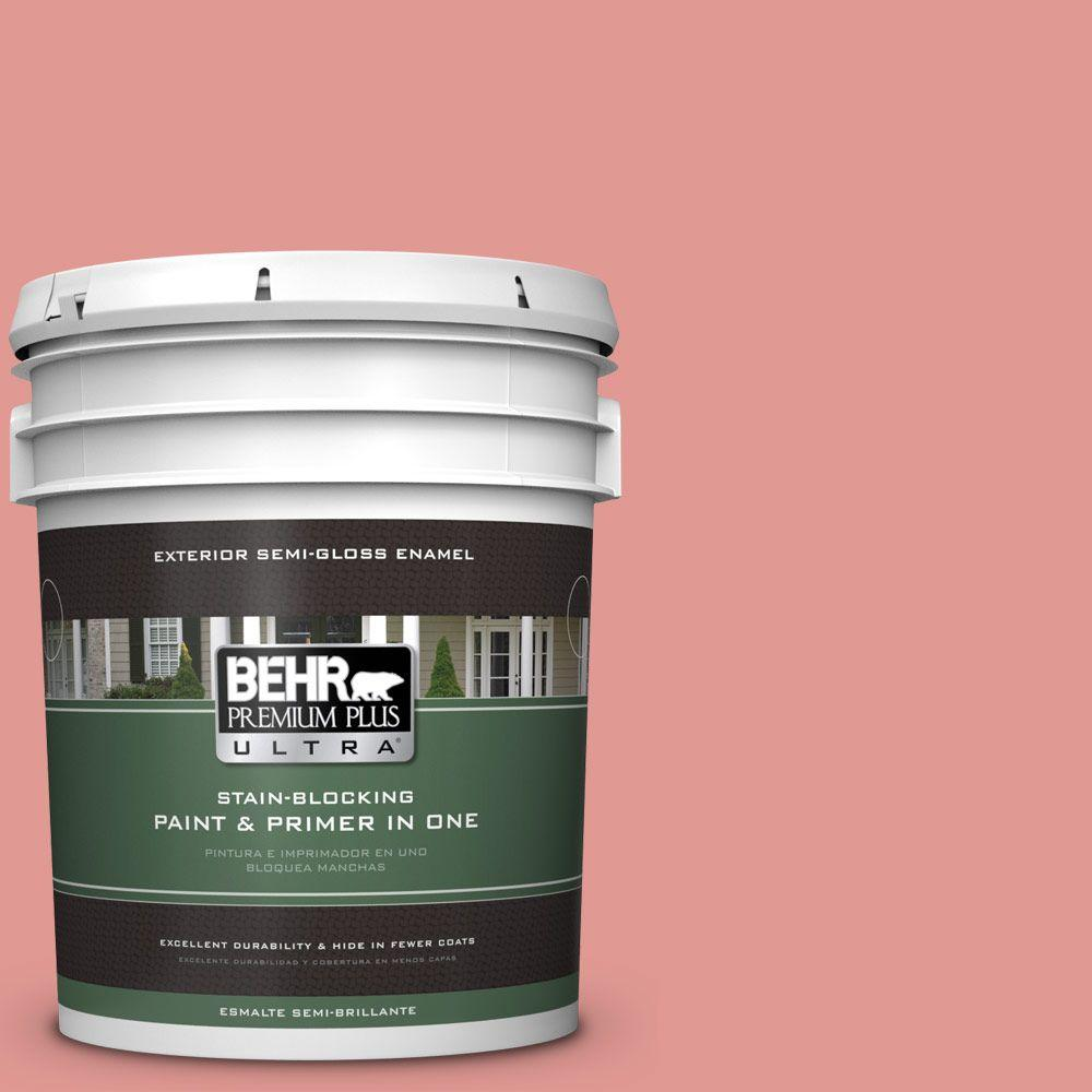 BEHR Premium Plus Ultra 5-gal. #160D-4 Strawberry Rose Semi-Gloss Enamel Exterior Paint