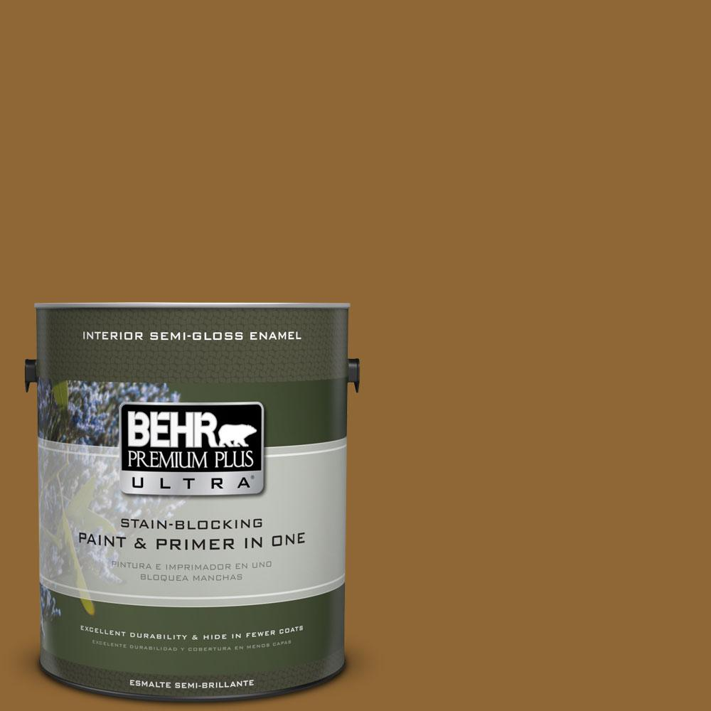 1-gal. #300D-7 Spanish Leather Semi-Gloss Enamel Interior Paint