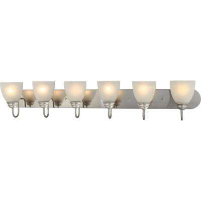 Mari 6-Light Indoor Brushed Nickel Bath or Vanity Light Bar or Wall Mount with White Frosted Glass Bell Shades