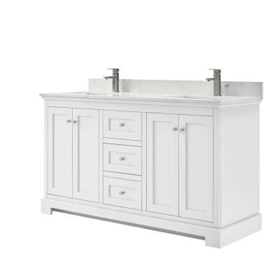 Ryla 60 in. W x 22 in. D Double Bath Vanity in White with Cultured Marble Vanity Top in Carrara with White Basins