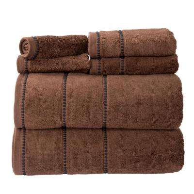 100% Cotton Zero Twist Quick Dry Towel Set in Chocolate (6-Piece)