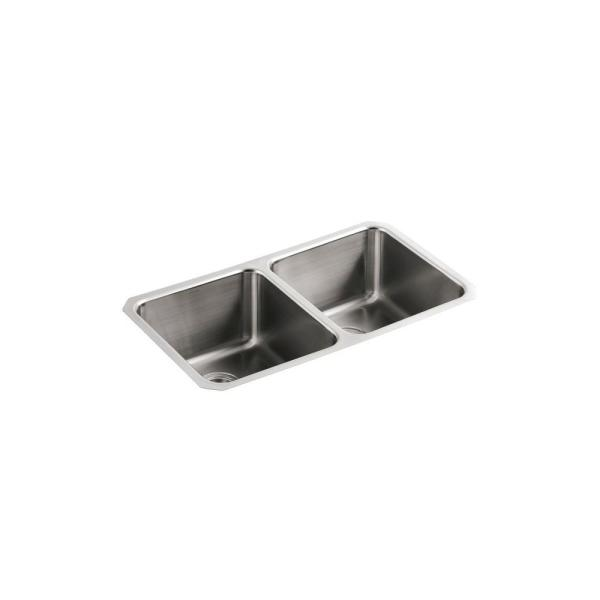 Undertone Undermount Stainless Steel 32 in. Double Bowl Scratch-Resistant Kitchen Sink