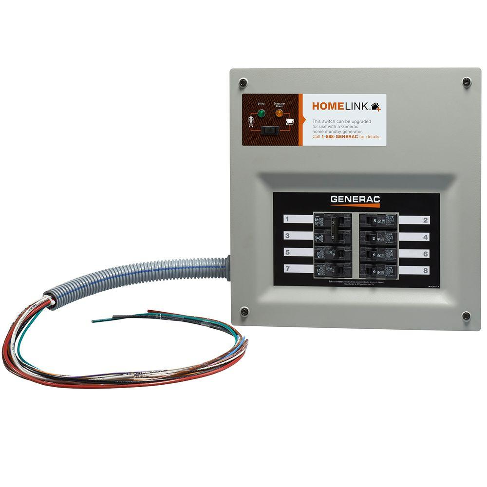 Generac Upgradeable Manual Transfer Switch for 8 Circuits