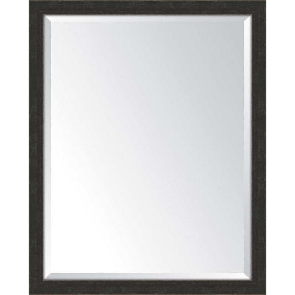 25 in. x 31 in. Framed Slate Black Mirror