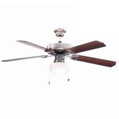 Tri-Mount 52 in. Indoor Brushed Nickel Ceiling Fan with Light Kit