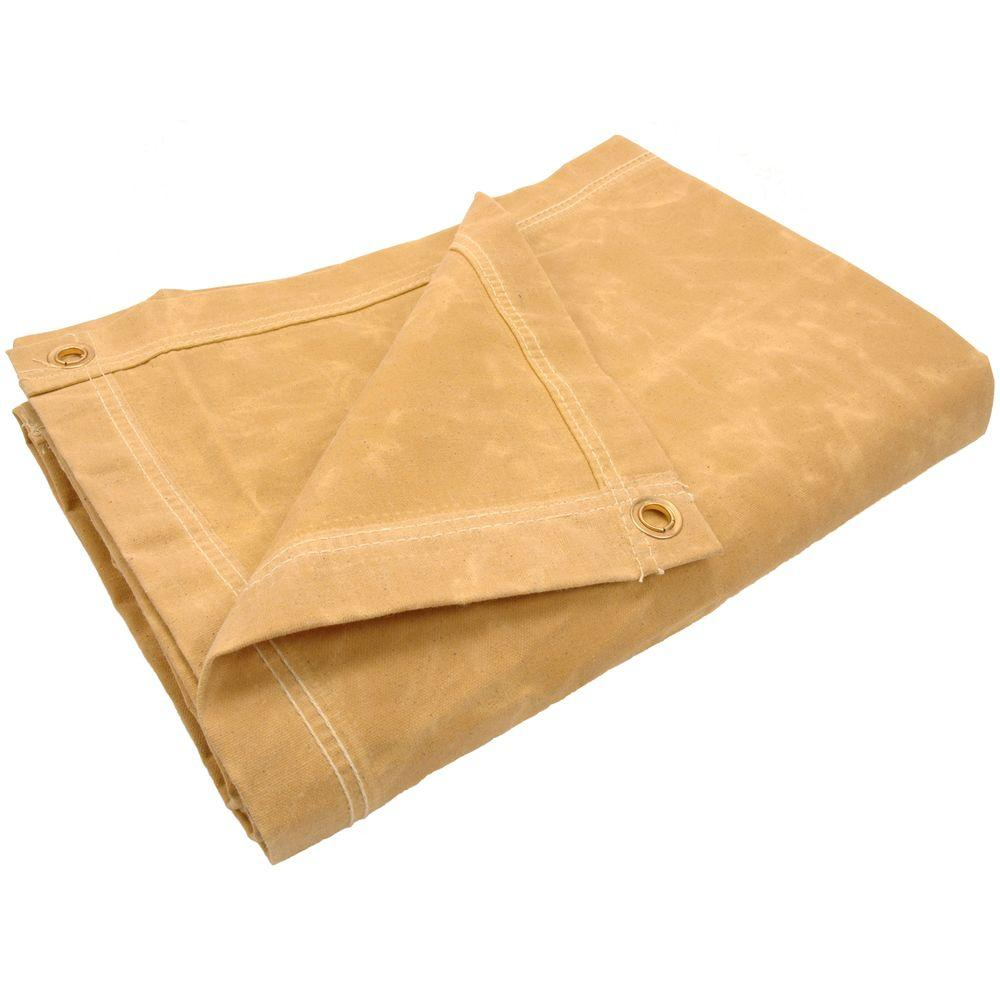 Sigman 9 ft. 8 in. x 9 ft. 8 in. 10 oz. Tan Canvas Tarp-DISCONTINUED