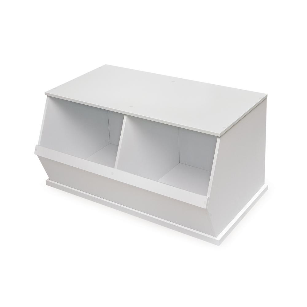 37.25 in. W x 19.25 in. D White Stackable 2-Storage Cubbies