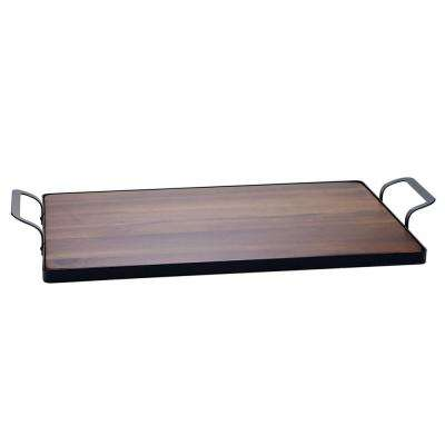 Acacia 24 in. x 5.25 in. Wood Brown Tray with Metal Frame
