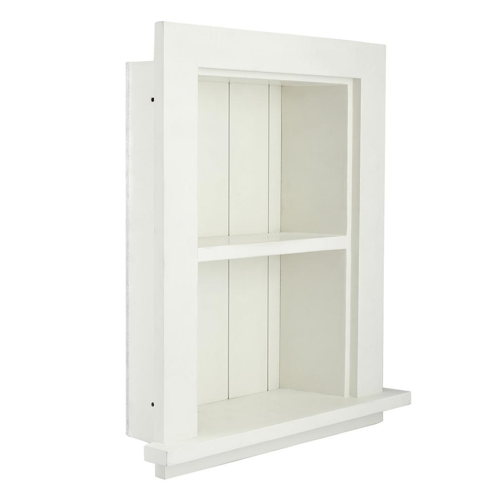 newest cda58 3acef AdirHome 12.75 in. W Wood Bathroom Recessed Wall Shelf in White