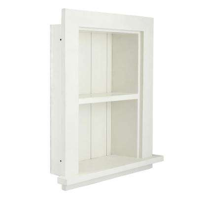 12.75 in. W Wood Bathroom Recessed Wall Shelf in White
