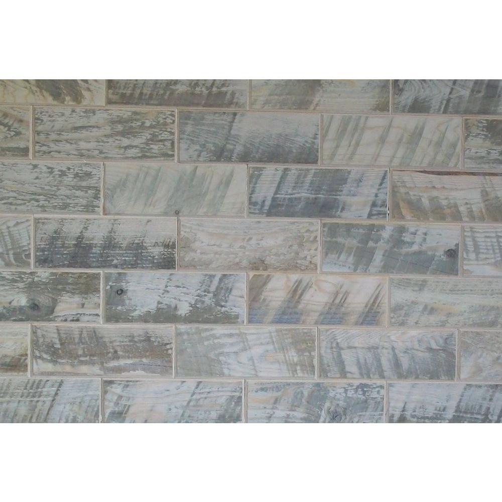 Rustix Woodbrix 3 in. x 8 in. Distressed Hemlock Wooden Wall Tile