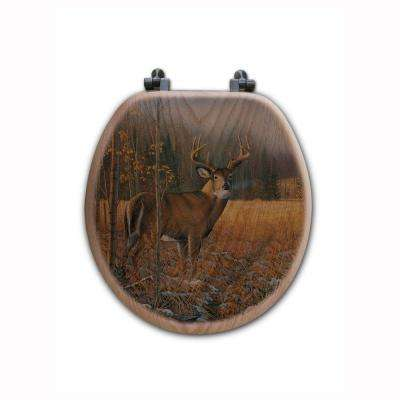 November Whitetail Deer Round Closed Front Wood Toilet Seat in Oak Brown