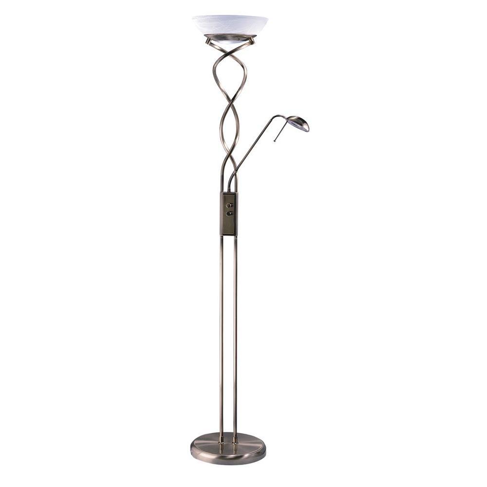 Antique Brass Torchiere Lamp