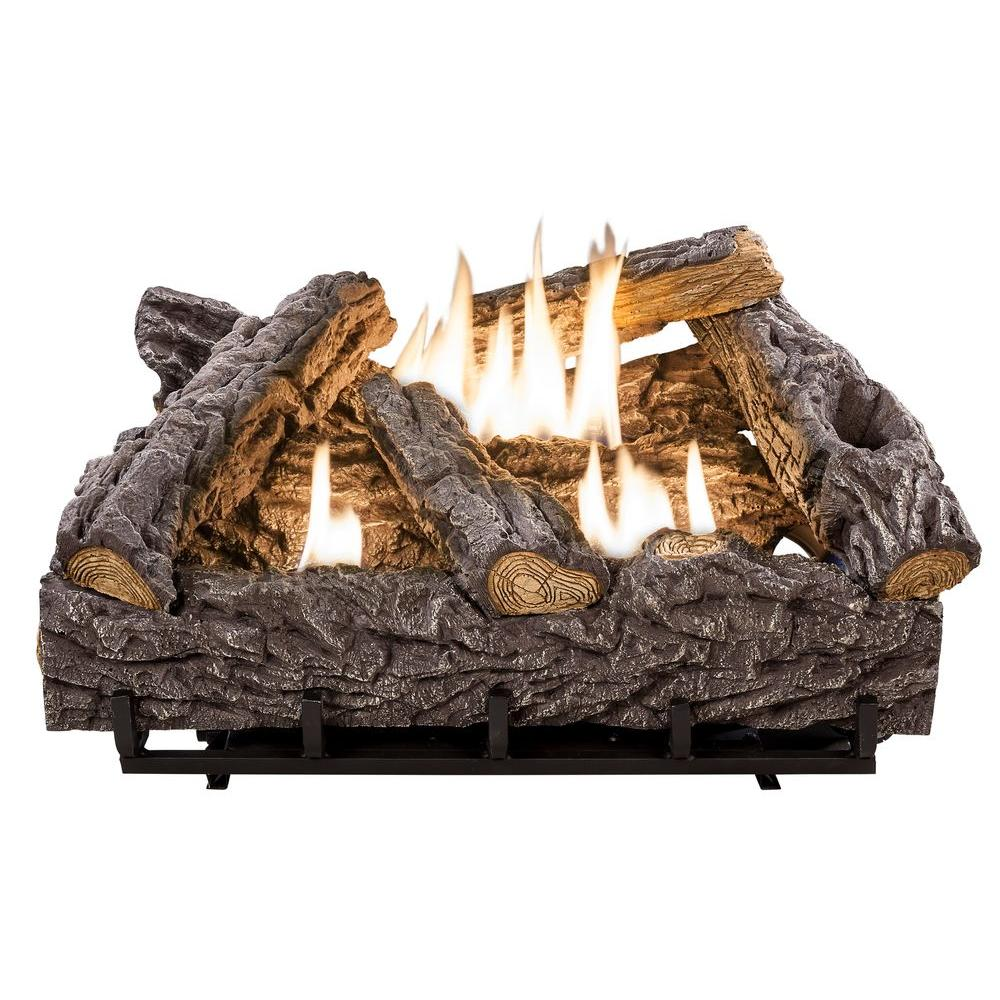 Gas Fireplace Logs Ventless Part - 15: Timber Creek Vent Free Dual Fuel Gas Log Set With Thermostat