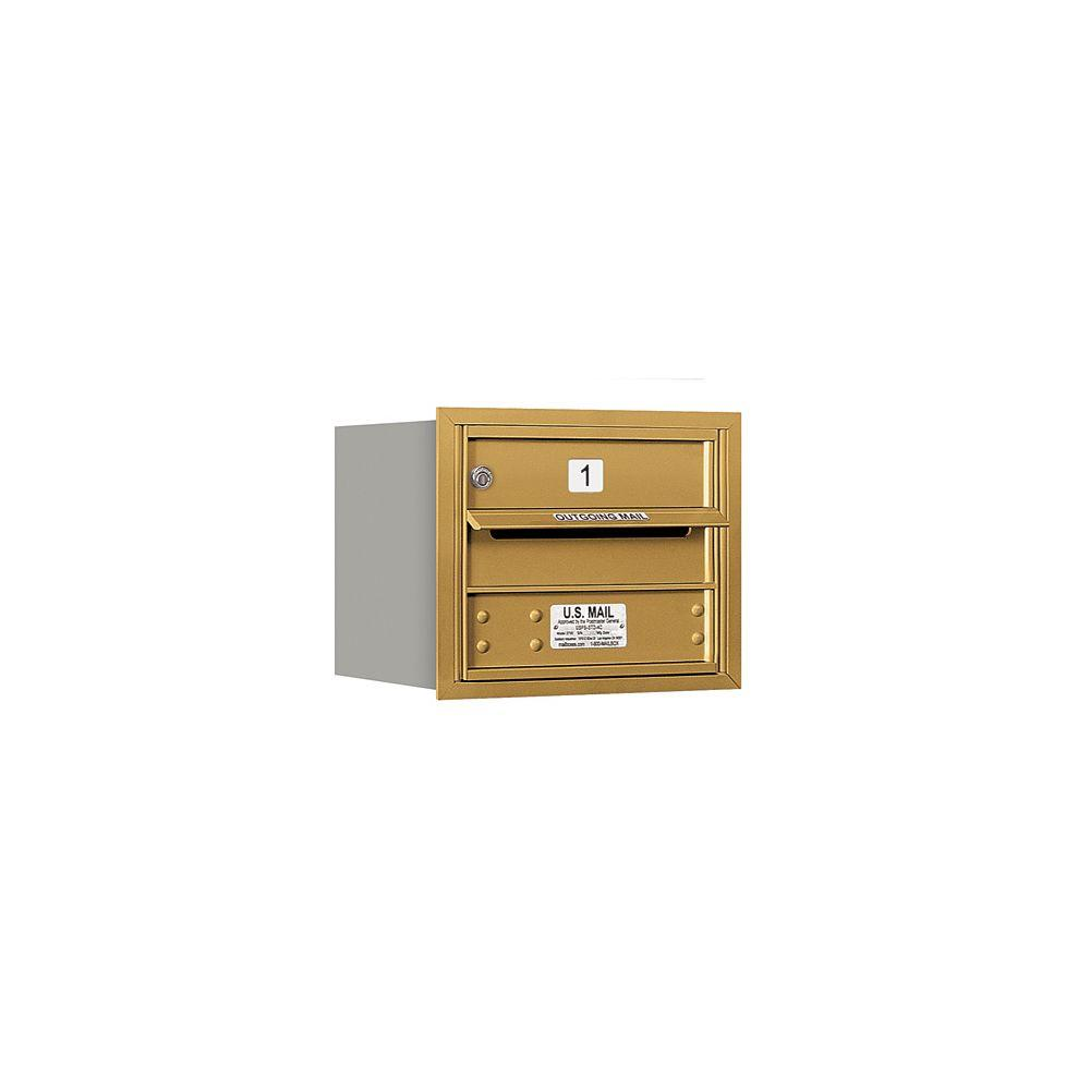 Salsbury Industries 3700 Series 13 in. 3 Door High Unit Gold Private Rear Loading 4C Horizontal Mailbox with 1 MB1 Door