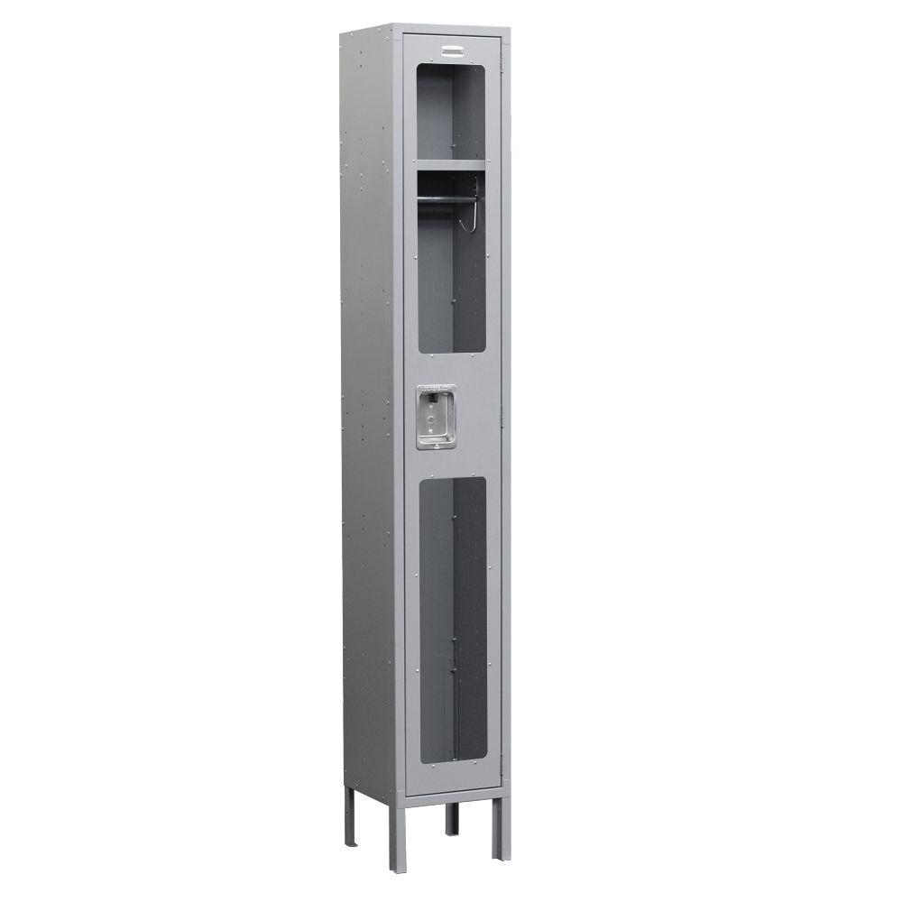 Salsbury Industries S-61000 Series 12 in. W x 78 in. H x 18 in. D Single Tier See-Through Metal Locker Assembled in Gray