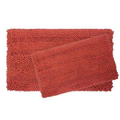 Astor Striped Chenille 17 in. x 24 in./ 20 in. x 34 in. 2-Piece Plush Bath Mat Set in Coral